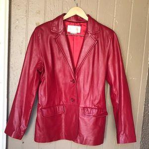 Margaret Godfrey red leather blazer